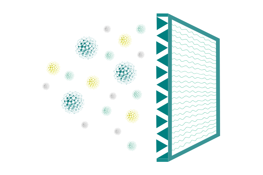 Different airborne particles passing an air cleaner filter