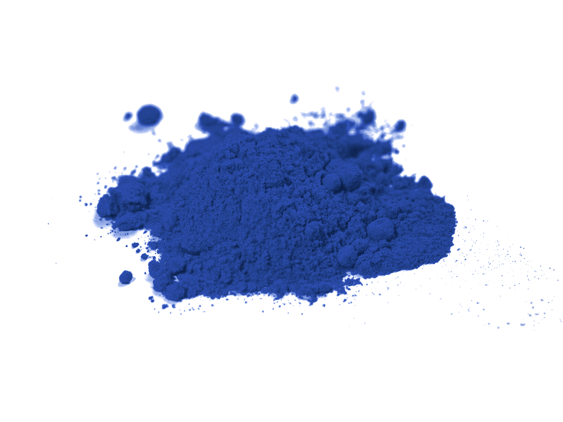 Heap of blue cobalt dust on white background
